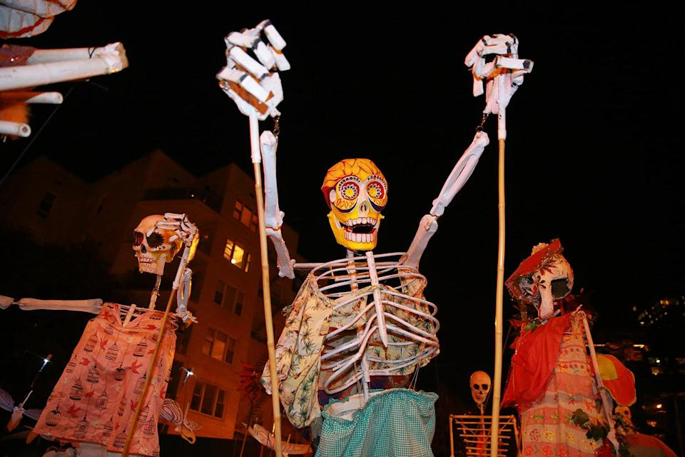 <p>A goblin is carried on poles in the 44th annual Village Halloween Parade in New York City on Tuesday, Oct. 31, 2017. (Photo: Gordon Donovan/Yahoo News) </p>