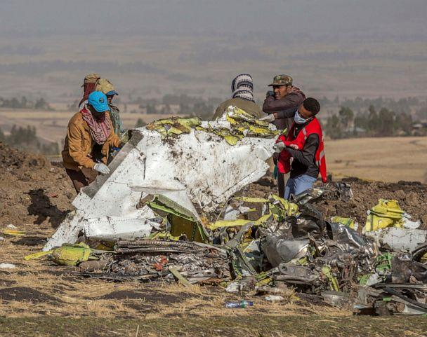 PHOTO: In this March 11, 2019 image, rescuers work at the scene of an Ethiopian Airlines flight crash near Bishoftu, or Debre Zeit, south of Addis Ababa, Ethiopia. (Mulugeta Ayene/AP, FILE)