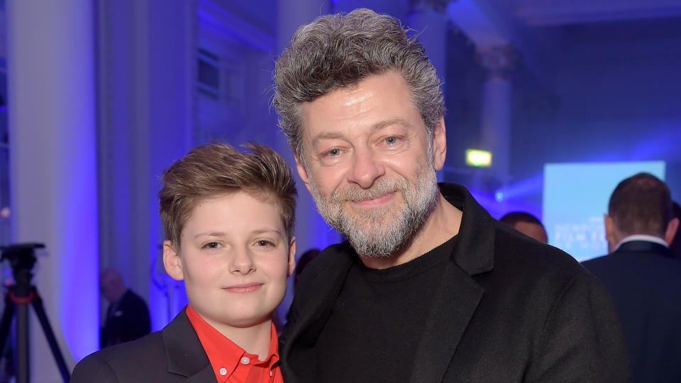 Louis Ashbourne Serkis and Andy Serkis attend the Newport Beach Film Festival UK Honours on February 07, 2019. (Photo by David M. Benett/Getty Images for Newport Beach & Company)