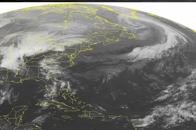This NOAA satellite image taken Thursday, April 18, 2013 at 1:45 a.m. EDT shows a stationary front across the Mid Atlantic with scattered showers.  Low pressure is affecting a large part of the Mississippi Valley, Great Lakes, and the Plains.  A line of strong to severe thunderstorms extends from southern Michigan all the way southwest to southwestern Texas.  Snow is occurring across the eastern Dakotas, Minnesota, and Nebraska.  Light to moderate rain is found over Wisconsin, northern Illinois, eastern Kansas, and northern Missouri.(AP PHOTO/WEATHER UNDERGROUND)