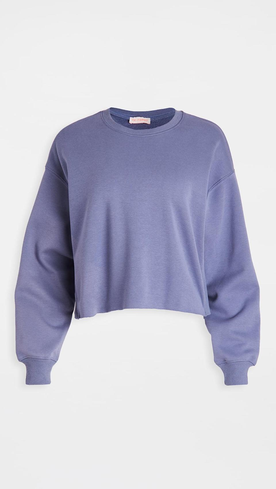 <p>Get cozy in this <span>Re:named Oversized Cropped Terry Fleece Sweatshirt</span> ($65).</p>