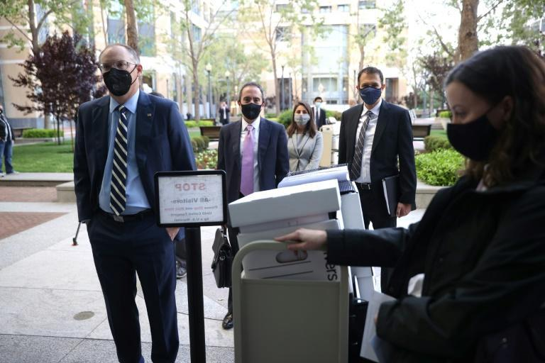 Epic CEO Tim Sweeney arrives at federal court in Oakland, California for a trial pitting the maker of the popular video game Fortnite against Apple in a case with big implications for the future of the online App Store