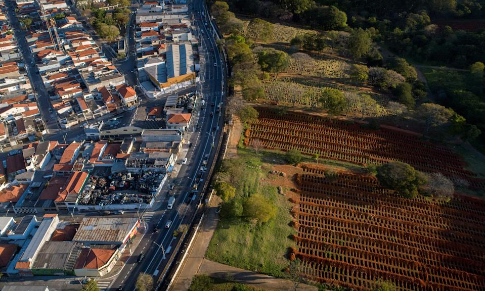 Aerial view of the Vila Formosa Cemetery during the coronavirus COVID-19 pandemic.