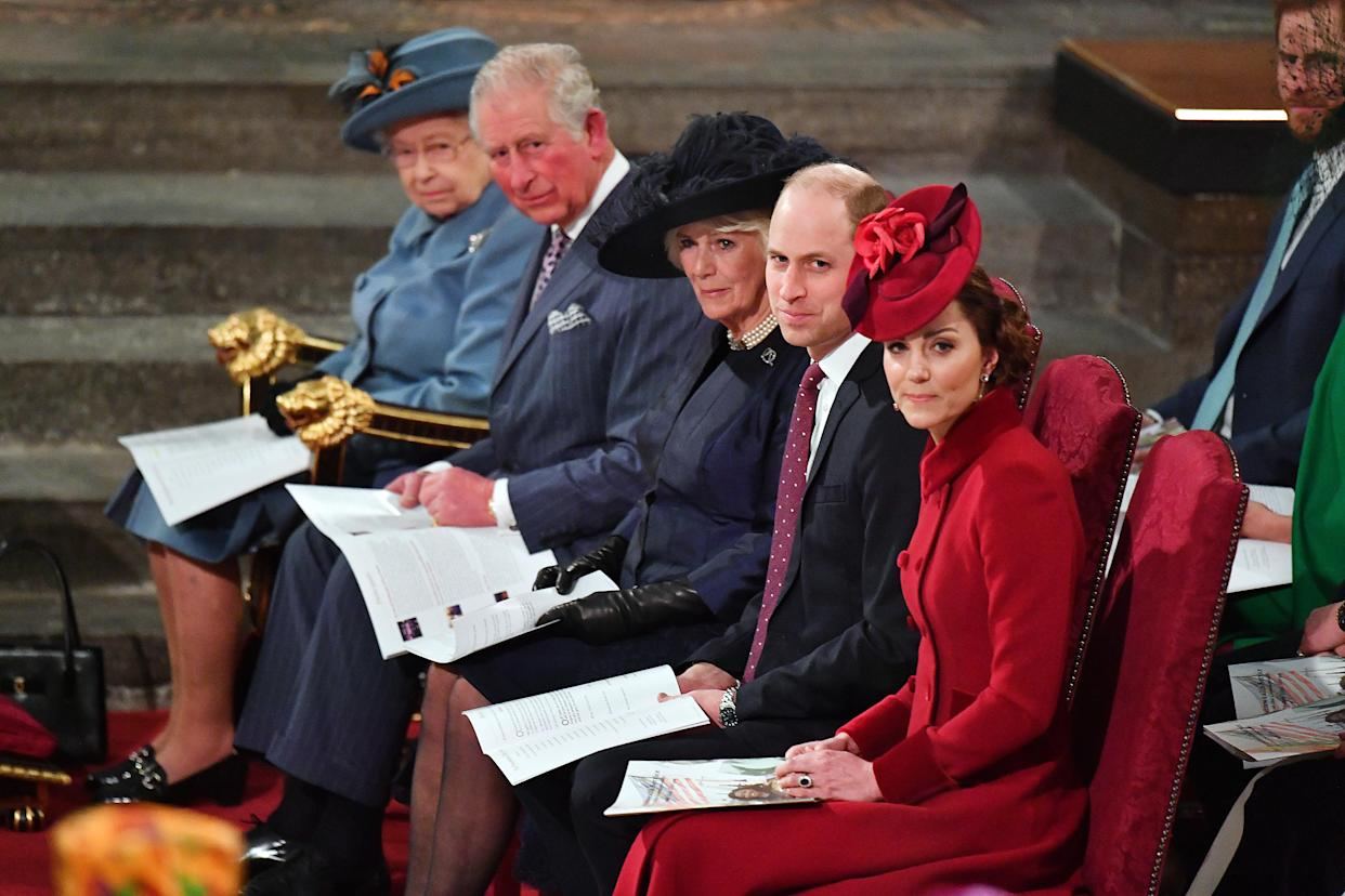 LONDON, ENGLAND - MARCH 09:  Queen Elizabeth II, Prince Charles, Prince of Wales, Camilla, Duchess of Cornwall, Prince William, Duke of Cambridge and Catherine, Duchess of Cambridge attend the Commonwealth Day Service 2020 on March 9, 2020 in London, England. (Photo by Phil Harris - WPA Pool/Getty Images)