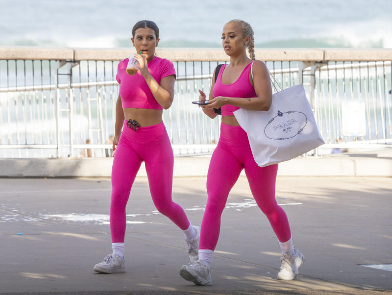 Tammy Hembrow models her activewear range Saski Collection at an ANZAC Memorial on The Esplanade at Surfers Paradise. Photo: Media Mode.