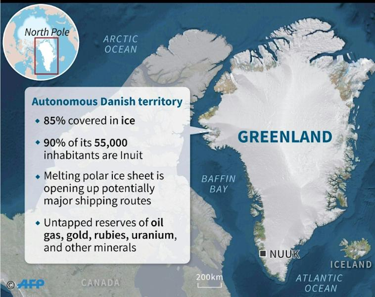 Map of Greenland with key facts about the autonomous Danish territory. (AFP Photo/Sabrina BLANCHARD)