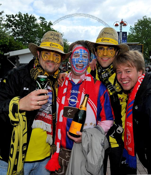Bayern Munich and Borussia Dortund fans arrive before the UEFA Champions League Final at Wembley Stadium, London.