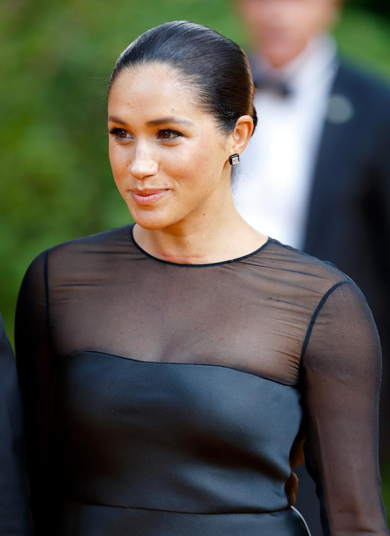 Meghan Markle in black sheer dress