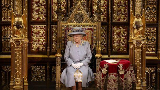 PHOTO: Queen Elizabeth II sits in the House of Lord's Chamber during the State Opening of Parliament at the House of Lords ahead of the Queen's Speech on May 11, 2021, in London. (Chris Jackson/Getty Images)