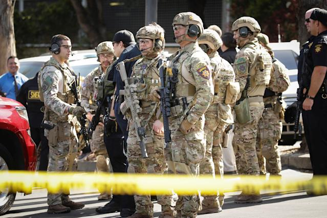 <p>San Mateo County SWAT team officers are seen near Youtube headquarters following an active shooter situation in San Bruno, Calif., April 3, 2018. (Photo: Elijah Nouvelage/Reuters) </p>