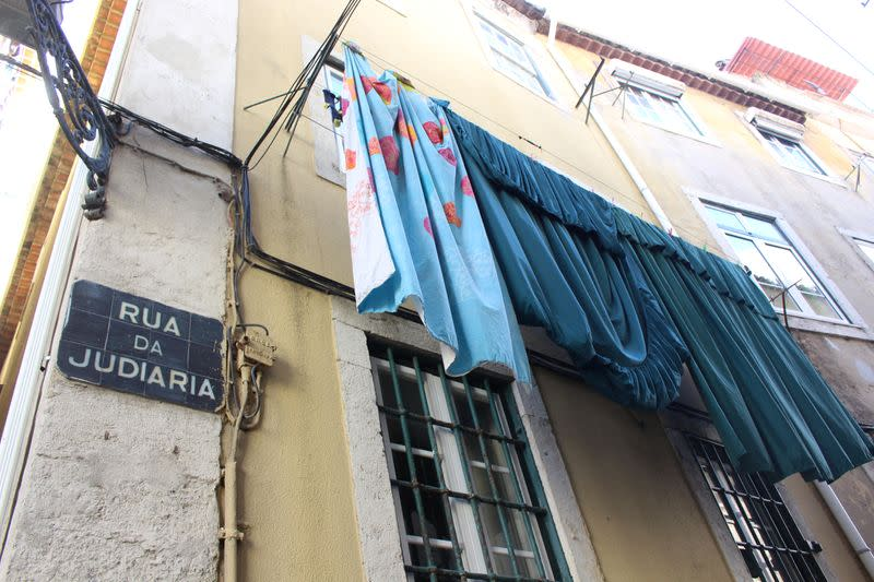 A street sign is seen in the former Jewish quarter in one of LisbonÕs most historic neighbourhoods of Alfama