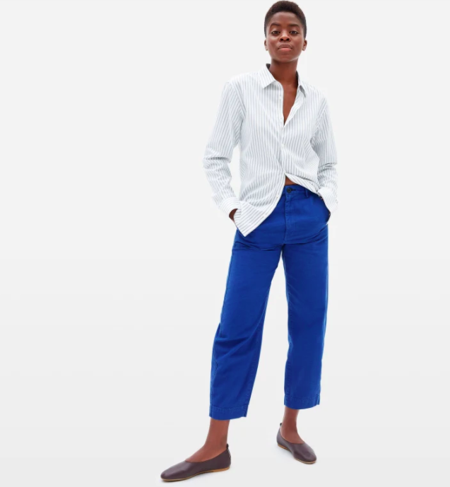 Everlane's new Arc Pants come in both denim and canvas.