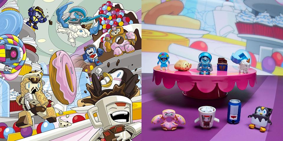 Series 1 5-Pack SUGAR SHOCKS characters are SIPPY SLURPS, THE PLOP FATHER, WADDLEPOP, LOLLY LICKS, REMORSEL, SPRINKLEBERRY D'UHNUT, UNILLA ICEQUEENCONE, COCOA CRAZY, and NRJEEZ! (Hasbro)