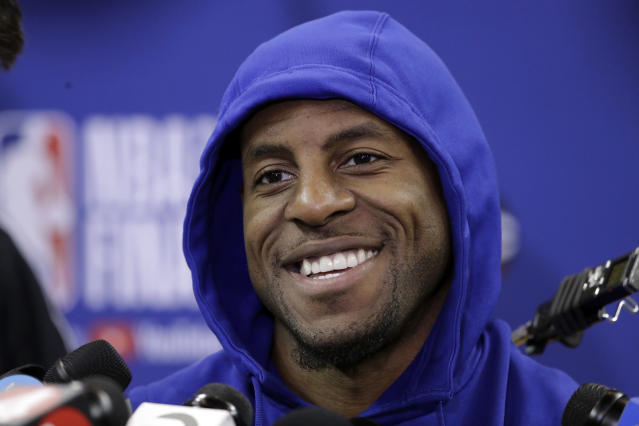 """<a class=""""link rapid-noclick-resp"""" href=""""/nba/players/3826/"""" data-ylk=""""slk:Andre Iguodala"""">Andre Iguodala</a> hasn't played since Game 3 of the Western Conference finals, but there's a 'good chance' that changes Wednesday in Cleveland, according to <a class=""""link rapid-noclick-resp"""" href=""""/nba/teams/gsw"""" data-ylk=""""slk:Warriors"""">Warriors</a> coach Steve Kerr. (AP)"""