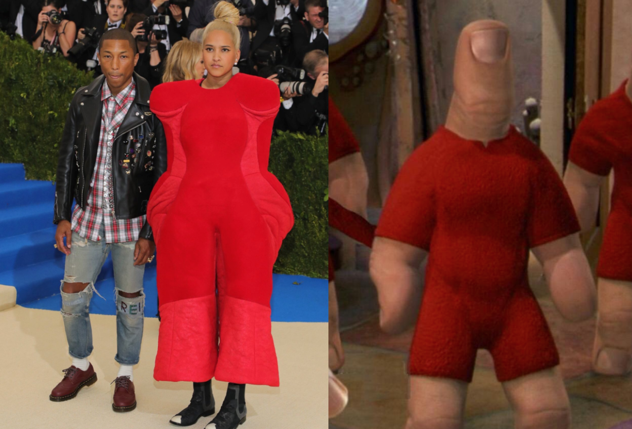<p>Sorry Helen but your look generated so many memes it's hard to choose. Second spot goes to this person who compared her red look to the walking thumbs from <i>Spy Kids</i>.<br /><i>[Photo: Twitter/Tmariebnh]</i> </p>