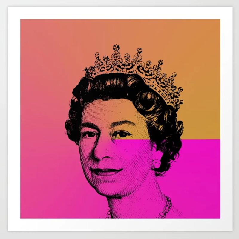 """<strong><a href=""""Queen Elizabeth II Art Print"""" target=""""_blank"""" rel=""""noopener noreferrer"""">Originally $19, the smallest size of this print is $14 right now for a limited time at Society6</a></strong>."""