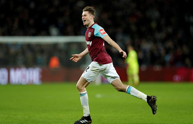 Soccer Football - FA Cup Third Round Replay - West Ham United vs Shrewsbury Town - London Stadium, London, Britain - January 16, 2018 West Ham United's Reece Burke celebrates scoring their first goal Action Images via Reuters/John Sibley