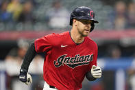 Cleveland Indians' Ernie Clement runs the bases after hitting a solo home run in the second inning of a baseball game against the Kansas City Royals, Tuesday, Sept. 21, 2021, in Cleveland. (AP Photo/Tony Dejak)