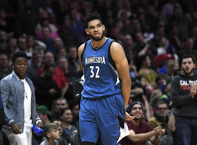 Karl-Anthony Towns made this face immediately after hearing you didn't pick him as an All-Star reserve. (Getty Images)
