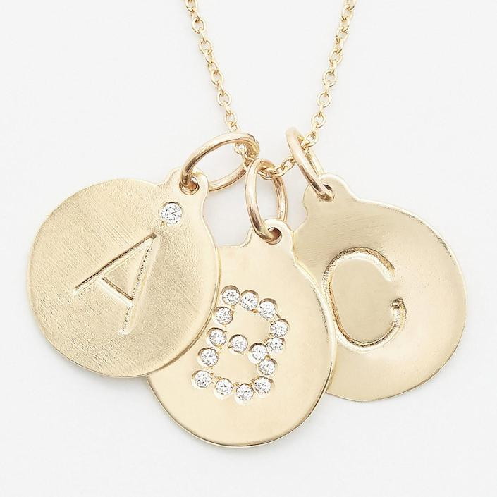 """<p>These simple initial pendants make the sweetest addition to your necklace collection. You can choose your metal, how much bling you'd like, and can add an engraving on the back. May we suggest, """"To: Me, Love: Me?""""</p> <p><strong>Buy It! </strong>Helen Ficalora Initial Pendant, $75-$175; <a href=""""https://helenficalora.com/collections/alphabets"""" rel=""""sponsored noopener"""" target=""""_blank"""" data-ylk=""""slk:helenficalora.com"""" class=""""link rapid-noclick-resp"""">helenficalora.com</a></p>"""