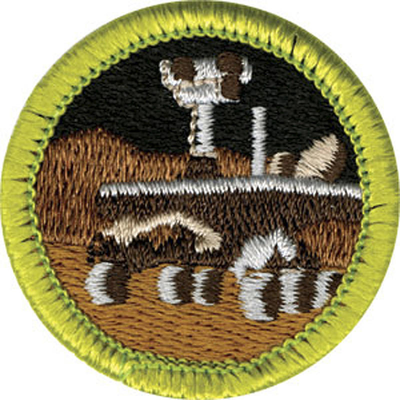 This photo released April 7, 2011 by the Boy Scouts of America shows a new Robotics merit badge, which depicts NASA's Mars rover. The badge will be unveiled next week as part of its efforts to emphasize science, technology, engineering and math. (AP Photo/Boy Scouts of America)   NO SALES