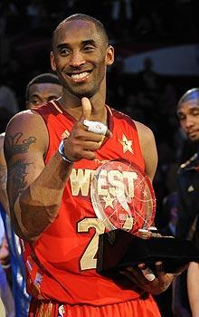 Kobe Bryant won his fourth All-Star MVP award, tying him with Bob Pettit for the most