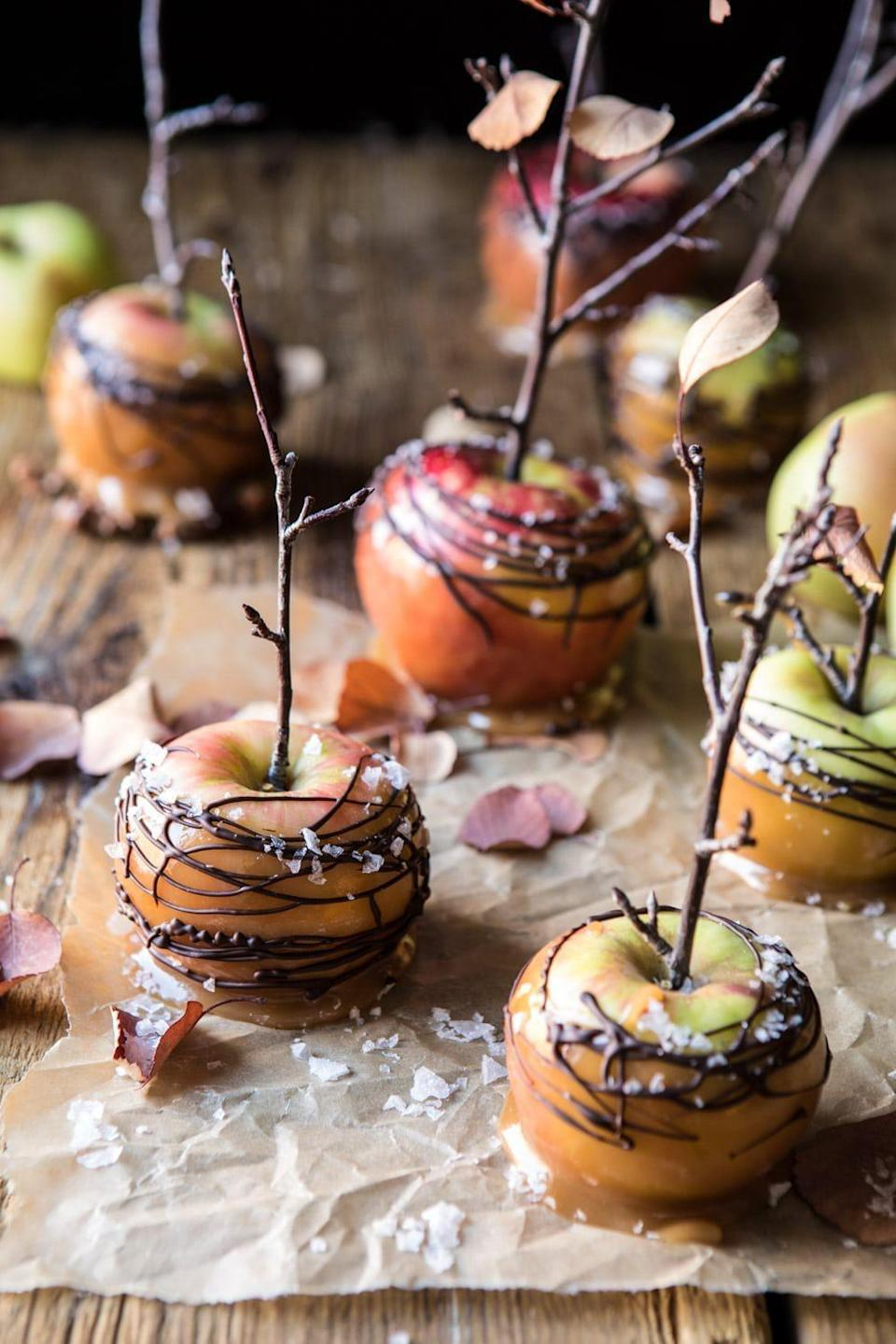 "<p>Want to serve an app that will steal the show? These festive caramel apples can be slices into bite-size bits or served as full apples. Complete with apple cider, honey, and bourbon, everyone will forget about the main course after they indulge in these.</p> <p><strong>Get the recipe:</strong> <a href=""https://www.halfbakedharvest.com/caramel-apples/"" class=""link rapid-noclick-resp"" rel=""nofollow noopener"" target=""_blank"" data-ylk=""slk:sweet and salty chocolate-drizzled cider caramel apples"">sweet and salty chocolate-drizzled cider caramel apples</a></p>"