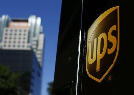 FILE PHOTO - A United Parcel Service truck on delivery is pictured in downtown Los Angeles
