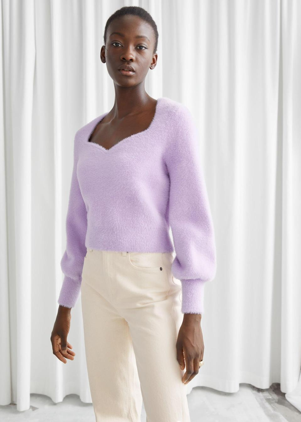 <p>The neckline on this <span>& Other Stories Cropped Sweetheart Neck Sweater</span> ($89) is so stunning.</p>