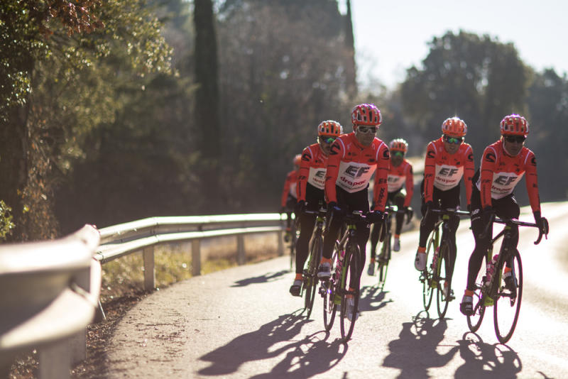 The EF Education First-Drapac riders get in the kilometres