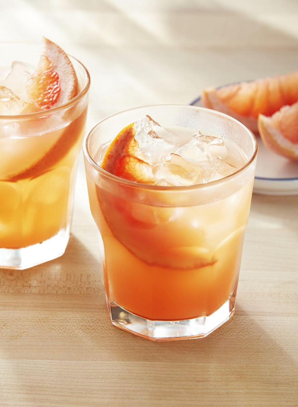 """<p>Give yourself a treat with this bright, citrusy cocktail. </p><p><strong><a href=""""https://www.countryliving.com/food-drinks/a34276057/grapefruit-honey-rosemary-smash/"""" rel=""""nofollow noopener"""" target=""""_blank"""" data-ylk=""""slk:Get the recipe"""" class=""""link rapid-noclick-resp"""">Get the recipe</a>.</strong></p><p><strong><a class=""""link rapid-noclick-resp"""" href=""""https://go.redirectingat.com?id=74968X1596630&url=https%3A%2F%2Fwww.williams-sonoma.com%2Fproducts%2Ftall-glass-pitcher%2F&sref=https%3A%2F%2Fwww.countryliving.com%2Ffood-drinks%2Fg1642%2Feaster-brunch-ideas%2F"""" rel=""""nofollow noopener"""" target=""""_blank"""" data-ylk=""""slk:SHOP DRINK PITCHERS"""">SHOP DRINK PITCHERS</a><br></strong></p>"""
