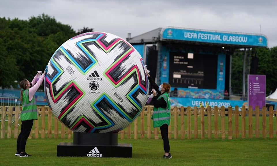 Finishing preparations are made to the Euro 2020 fan zone at Glasgow Green.