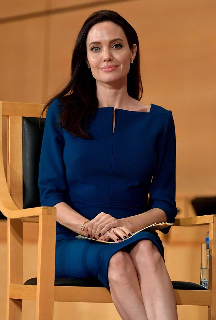 Angelina Jolie speaks at the annual lecture of the Sergio Vieira De Mello Foundation held at the United Nations Office at Geneva