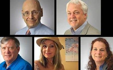 The five victims of the Annapolis shooting: (top) Gerald Fischman, Rob Hiaasen, (bottom) John McNamara, Rebecca Smith and Wendi Winters
