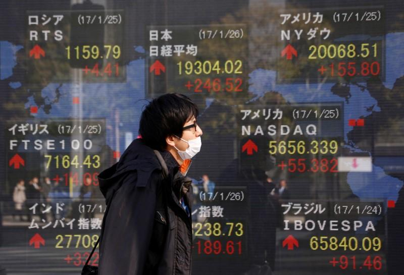 A man walks past an electronic board showing Japan's Nikkei average, the Dow Jones average and the stock averages of other countries' outside a brokerage in Tokyo