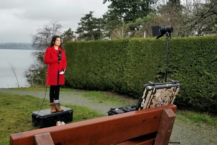 """Amelia Brace, the North America correspondent for Australia's Channel 7, says the interest in her home country for news about the British royal couple is """"huge"""" (AFP Photo/Alia DHARSSI)"""