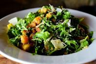 """<p>The root vegetables in this salad (carrots, squash and parsnips) roast in the oven until crisp, tender, and caramelized. """"It's sort of a salad, sort of a veggie side dish, sort of a vegetarian main dish…and would be perfect as a weeknight dinner or as a Thanksgiving recipe,"""" Ree says.</p><p><a href=""""https://www.thepioneerwoman.com/food-cooking/recipes/a80195/quinoa-with-buttery-roasted-vegetables/"""" rel=""""nofollow noopener"""" target=""""_blank"""" data-ylk=""""slk:Get Ree's recipe."""" class=""""link rapid-noclick-resp""""><strong>Get Ree's recipe. </strong></a></p><p><a class=""""link rapid-noclick-resp"""" href=""""https://go.redirectingat.com?id=74968X1596630&url=https%3A%2F%2Fwww.walmart.com%2Fsearch%2F%3Fquery%3Dbaking%2Bsheet&sref=https%3A%2F%2Fwww.thepioneerwoman.com%2Ffood-cooking%2Fmeals-menus%2Fg36806222%2Ffall-salad-recipes%2F"""" rel=""""nofollow noopener"""" target=""""_blank"""" data-ylk=""""slk:SHOP BAKING SHEETS"""">SHOP BAKING SHEETS</a></p>"""