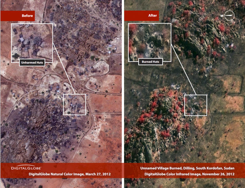 This combination satellite image taken by DigitalGlobe and released Thursday, Dec. 6, 2012 by the Enough Project, is claimed by the Satellite Sentinel Project to show before and after imagery taken March 27, 2012, left, and Nov. 26, 2012, right, of a burned village near Dilling in the South Kordofan region of Sudan. George Clooney, through the Satellite Sentinel Project which he helped found, said Thursday Dec. 6, 2012 that satellite imagery shows that 26 villages, food crops and grasslands were intentionally burned in a 54-square-mile (140-square-kilometer) area of the Nuba Mountains of Sudan in November 2012. (AP Photo/DigitalGlobe via Enough Project)