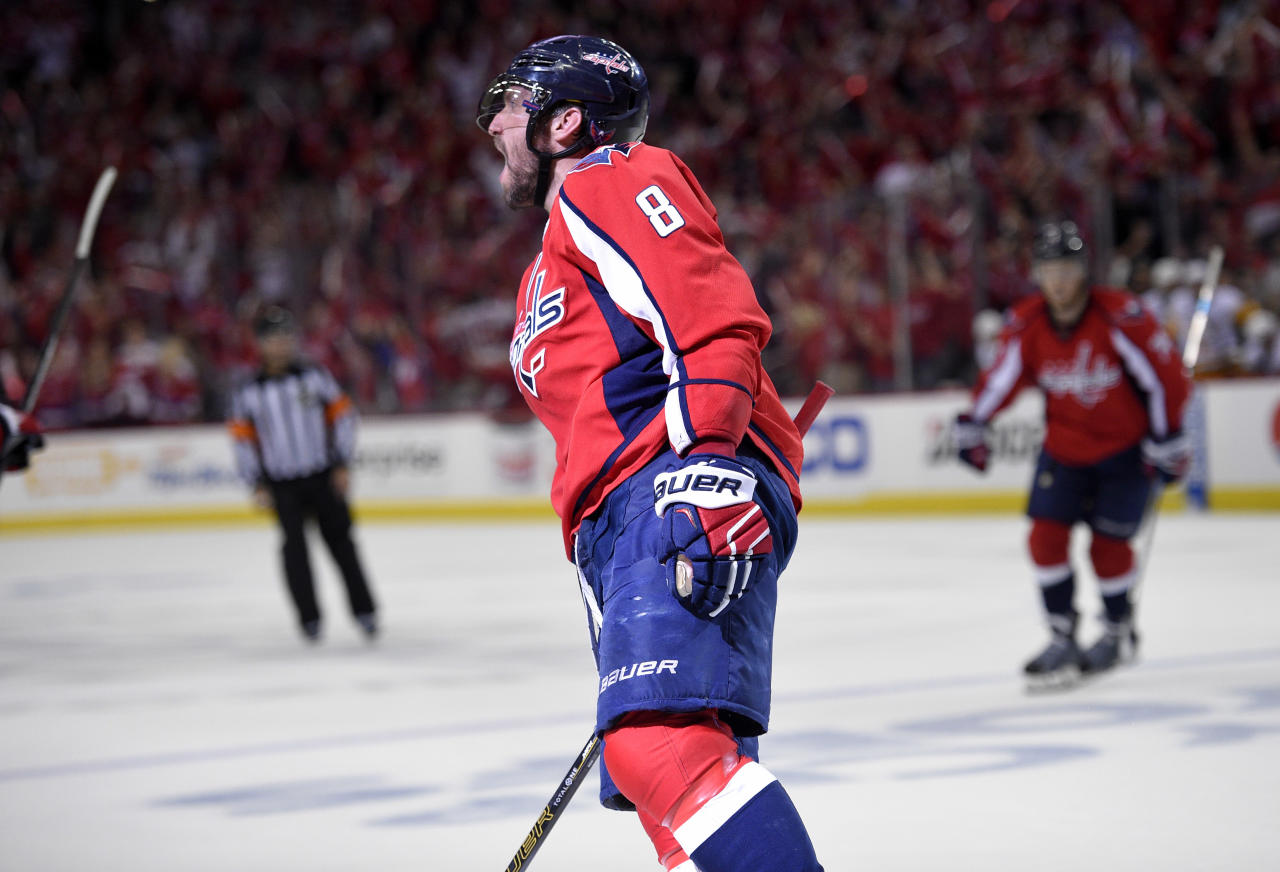 Washington Capitals left wing Alex Ovechkin (8), of Russia, celebrates his goal during the second period of Game 1 in an NHL hockey Stanley Cup second-round playoff series against the Pittsburgh Penguins, Thursday, April 27, 2017, in Washington. (AP Photo/Nick Wass)