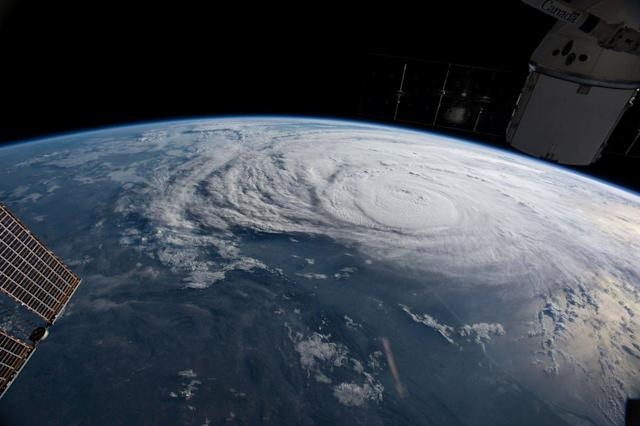 <p>Hurricane Harvey is pictured off the coast of Texas, from aboard the International Space Station on Aug. 25, 2017. (Photo: NASA/Handout via Reuters) </p>
