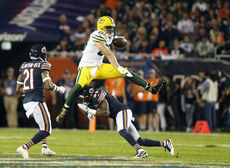 Jimmy Graham's tenure in Green Bay wasn't what many were hoping. We'll see if it's any different with the Packers' rival. (Photo by Nuccio DiNuzzo/Getty Images)