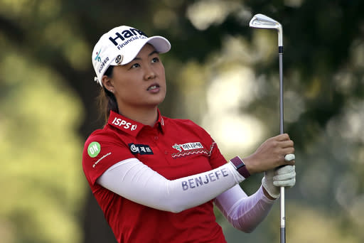 Minjee Lee of Australia watches her tee shot on the second hole during the third round of the Marathon Classic LPGA golf tournament Saturday, Aug. 8, 2020, at the Highland Meadows Golf Club in Sylvania, Ohio. (AP Photo/Gene J. Puskar)