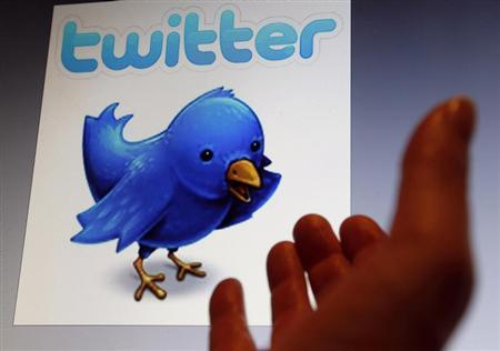 An illustration picture shows a Twitter blue bird symbol on an Ipad, in Bordeaux