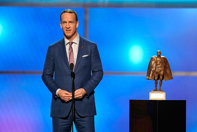 ESPN is reportedly interested in bringing in Peyton Manning for a broadcasting role on Monday Night Football. (AP)