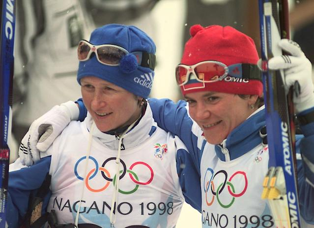 Together, Russian cross-country skiers Olga Danilova, left, and Larisa Lazutina were stripped of five total medals, including three gold and three silver, after testing positive for the banned stimulant Darbepoetin alfa at the 2002 Salt Lake City Games. (AP Photo/Joe Cavaretta)
