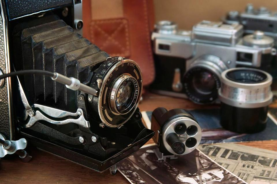 world photography day  vintage camera and retro items