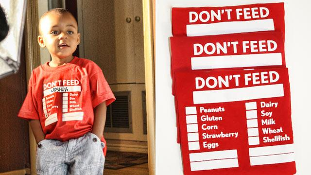 'Don't Feed Me' T-Shirts Calm Parents of Allergic Kids