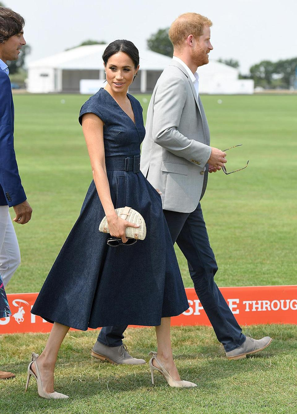 """<p>Although Meghan's exact rattan clutch from J. Crew has sold out since she brought it to Prince Harry's July 2018 polo match, it's a simply chic inspiration for your go-to summer bag.</p> <p><strong>Get the Look!<br></strong><strong>Tuckernuck Natural Kaine Clutch, <a href=""""https://www.tnuck.com/natural-kaine-clutch-0.html"""" rel=""""sponsored noopener"""" target=""""_blank"""" data-ylk=""""slk:$250"""" class=""""link rapid-noclick-resp"""">$250</a><br>J. Crew Rattan Clutch, <a href=""""https://www.anrdoezrs.net/links/8029122/type/dlg/sid/PEO11RoyalsInspiredGiftsYouNeedThisSummerpetitsRoyGal12744024202106I/https://www.jcrew.com/us/p/womens_category/handbags/clutchesandpouches/rattan-clutch-with-chain-strap/AN913"""" rel=""""sponsored noopener"""" target=""""_blank"""" data-ylk=""""slk:$99"""" class=""""link rapid-noclick-resp"""">$99</a></strong><b><br></b><strong>Lulu's Woven Half Moon Clutch, <a href=""""https://www.pntra.com/t/8-11575-131940-157915?sid=PEO11RoyalsInspiredGiftsYouNeedThisSummerpetitsRoyGal12744024202106I&url=https%3A%2F%2Fwww.lulus.com%2Fproducts%2Fjust-wanna-have-sun-yellow-woven-half-moon-clutch%2F1390596.html"""" rel=""""sponsored noopener"""" target=""""_blank"""" data-ylk=""""slk:$34"""" class=""""link rapid-noclick-resp"""">$34</a></strong></p>"""