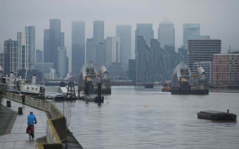 Buildings are seen in the Canary Wharf business district, amid the outbreak of the coronavirus disease (COVID-19), in London