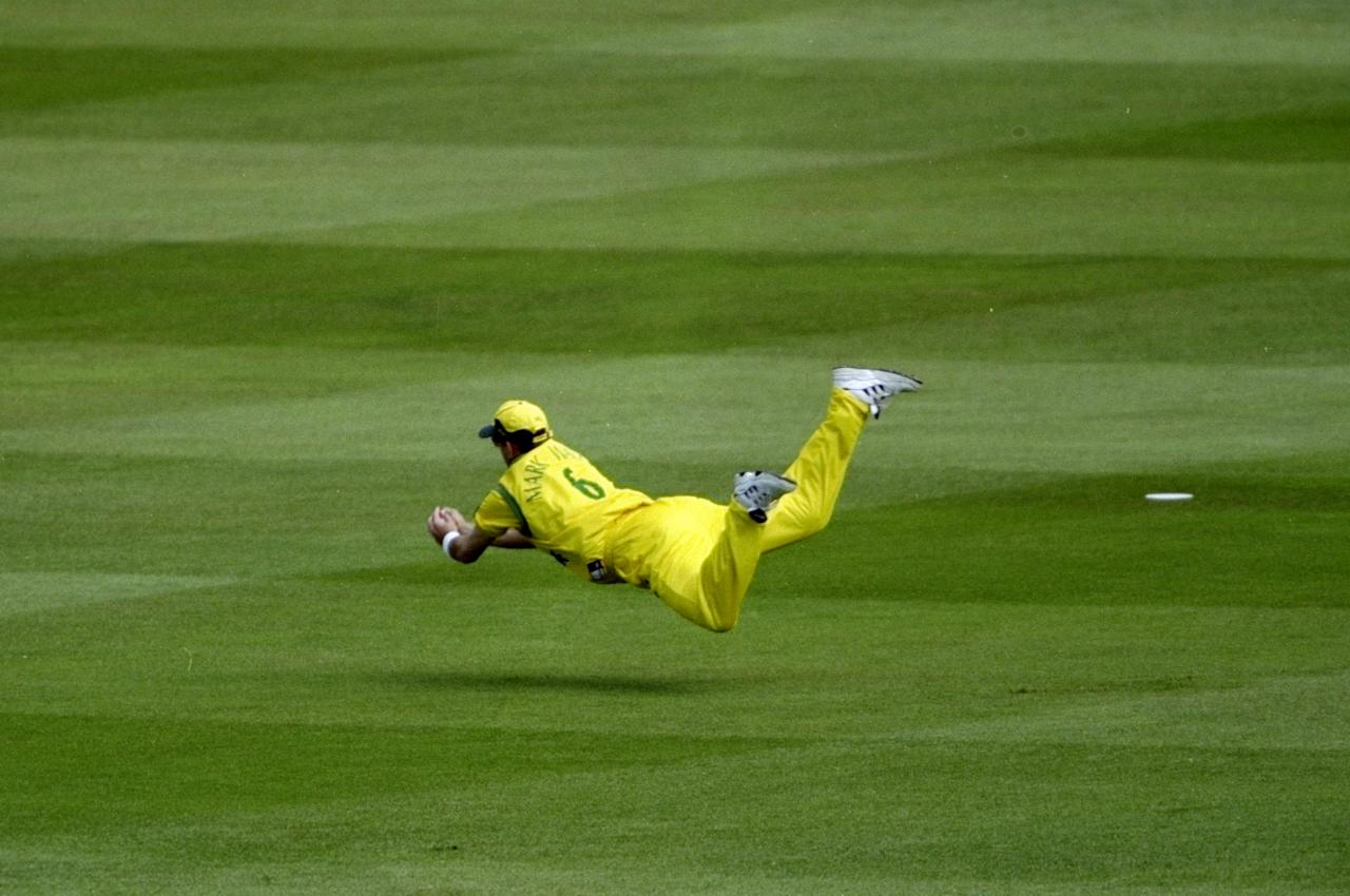 20 Jun 1999:  Mark Waugh of Australia takes a flying catch at slip during the Cricket World Cup Final against Pakistan at Lord's in London. Australia won by 8 wickets. \ Mandatory Credit: Adrian Murrell /Allsport